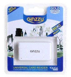 Картридер <AII in 1> USB 2.0 Ginzzu GR-416W. White