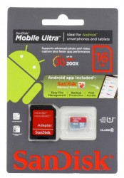 Карта памяти MicroSDHC 16Gb SanDisk Ultra Class10 + SD Adapter + Memory Zone Android App