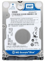 "Жесткий диск 2.5""  320.0 Gb WD3200LPVT Scorpio Blue. SATA II (8mb. 5400rpm. 7mm)"