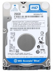 "Жесткий диск 2.5""  250.0 Gb WD2500LPVT Scorpio Blue. SATA II (8mb. 5400rpm. 7mm)"