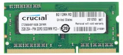 Память SO-DIMM DDR3 2Gb (pc-12800) 1600MHz Crucial (CT25664BF160B)